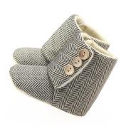 Ec Toddler Baby Girl Boy Stripe Button Crib Boots Soft Sole Prewalker Warm Shoes