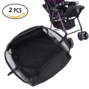 Stroller Bottom Storage Bag, 2PCS Installable Baby Car Buggy Pushchair Basket Shopping Case Organiser with Hook and loop and Buttons, A Stable Firm Place for Placing Kid's Supplies