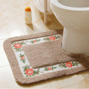 Ukeler Luxurious Soft Floral Non-Slip Toilet Contour Rug, Contour Bath Rug, Soft Shaggy U-shaped Toilet Floor Mat for Bathroom 50cm By 50cm , Mocha