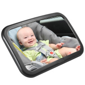 Pretty See Baby Car Mirror Backseat Mirror Rear Facing Car Seat Mirror with Two Durable Cross Buckle Straps, 360 Degree Rotatable, 30cm x 19cm