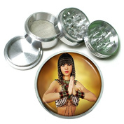 """Egyptian Pin Up Girls Egypt S9 Chrome Silver 2.5"""" Aluminium Magnetic Metal Herb Grinder 4 Piece Hand Muller Herb & Spice Heavy Duty 63mm"""