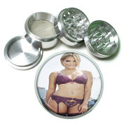"""Dutch Pin Up Girls Neatherlands S8 Chrome Silver 2.5"""" Aluminium Magnetic Metal Herb Grinder 4 Piece Hand Muller Herb & Spice Heavy Duty 63mm"""