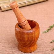 Kangkang@ Home Kitchen Hand Manual Wood Garlic Ginger Mortar and Pestle Grinding Bowl Masher Grinder Mixing Device