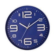 SonYo Indoor Big 3D Number Quartz Silent Non Ticking Wall Clock Quiet Sweep Movement Decorative Battery Operated 25cm Blue