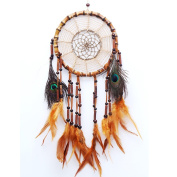 LanMa Handmade Dream Catcher (70cm Long) Indian Peacock Feathers Ornaments Home Wall Hanging Decoration