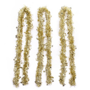 SANNO Christmas Party Tinsel Tree Hanging Decorations Snowflakes Tinsel Garland Snow Ornaments , Gold, 3 Pcs 6.5 Ft (2M) x 10cm width