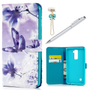 LG Stylus 2 Plus/LG LS775 Case Wallet, KASOS Colourful Painting 3D Purple Butterfly PU Leather TPU Inner Shell Kickstand Card Holders Magnetic Flip Cover & Dust Plug & Stylus - Purple Butterfly