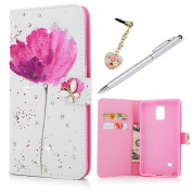Note 4 Case Wallet, KASOS Colourful Painting Red Flower White PU Leather Wallet Case with Shiny Diamond TPU Inner Kickstand Card Holders Magnetic Flip Cover & Dust Plug & Stylus - Lotus Flower