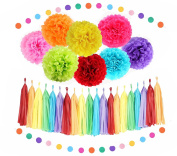 Sopeace Rainbow Party Decorations Tissue Paper Pom Pom Paper Garland Circle Garland for Rainbow Baby Shower Decorations Rainbow Birthday Decorations