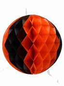 Orange and Black Honeycomb Tissue Paper Ball Party Supplies [55614-OB]