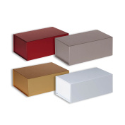 Jillson Roberts 4-Count All-Occasion Small Magnetic Closure Gift Presentation Boxes Solid Colour Assortment, Metallic Red/Silver/Gold/White Gloss