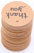 Kraft Paper Thank You Tag - LeBeila Thank You Tags For Wedding Favours, Round Shaped Gift Tags With Natural Jute Twine For Graft, Bonbonniere, Birthday, Graduation & Parties
