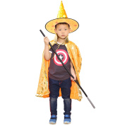 Kid Boys Girls Halloween Costumes Witch Wizard Cloak Cape with Hat Halloween Role Play Dress-up Supplies Yellow