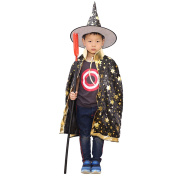 Kid Boys Girls Halloween Costumes Witch Wizard Cloak Cape with Hat Halloween Role Play Dress-up Supplies Black