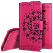 Galaxy J3 Case, Express Prime Case, Amp Prime Case, PHEZEN Embossed Mandala PU Leather 2 in 1 Magnetic Detachable Wallet Flip Case Slim Back Cover Card Holder Wrist Strap for Galaxy J3 2016, Hot Pink