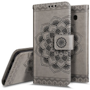 Galaxy J5 2016 Case, Galaxy J5 2016 Wallet Case,PHEZEN Embossed Mandala PU Leather 2 in 1 Magnetic Detachable Wallet Flip Case Slim Back Cover Card Holder Wrist Strap for Galaxy J5 2016, Grey