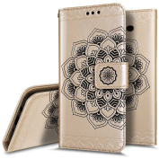 Galaxy J5 2017 Case, Galaxy J5 2017 Wallet Case,PHEZEN Embossed Mandala PU Leather 2 in 1 Magnetic Detachable Wallet Flip Case Slim Back Cover Card Holder Wrist Strap for Galaxy J5 2017, Gold