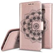 Galaxy S8 Case,Galaxy S8 Wallet Case,PHEZEN Embossed Mandala PU Leather 2 in 1 Magnetic Detachable Wallet Flip Case Slim Back Cover Card Holder Wrist Strap for Samsung Galaxy S8, Rose Gold