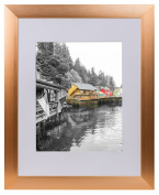 Golden State Art, Rose Gold Colour Satin Aluminium Landscape Or Portrait Photo Frame With Ivort Colour Mat & Real Glass