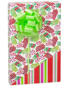 Reversible Vintage Ribbon Candy & Holiday Stripes Gift Wrap Wrapping Paper - 4.9m Roll