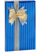 Blue Foil Stripe Foil Wrapping Paper 4.9m Roll