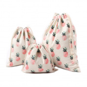 Riverer Gift Bags with Drawstring, Packing Storage Linen Jewellery Pouches Sacks for Wedding Party 12 pcs Pineapple Pattern, 14cm x 16cm