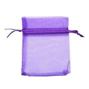 DierCosy 100 PCS 7CM X9 CM Purple Organza Wedding Favour Bags Jewellery Pouches