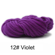 IYSHOUGONG 1 Lot Hand Knitting Blanket Hats Super Thick Chunky Yarn Roving Bulky Yarn for Arm Knitting Crocheting Felting, Violet