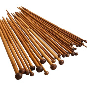NUOMI 36 Pieces Bamboo Knitting Needles Set (18 Sizes from 2.0mm to 10.0mm), Single Pointed Carbonised Knitting Kits