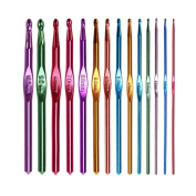 NUOMI 14Pcs Multicolor Aluminium Crochet Hooks Knitting Needles Craft Weave Yarn Set 2-10mm