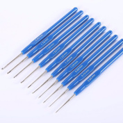 NUOMI 10Pcs Steel Crochet Hooks Knitting Needles Craft Yarn 0.6-2.0mm, Blue Plastic Handle