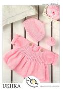 UKHKA Baby Sweater & Hat Knitting Pattern No 71 DK - each