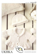 UKHKA Baby Cardigan & Hat Knitting Pattern No 69 DK - each