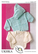 UKHKA Baby Hooded Cardigan & Sweater Knitting Pattern No 67 DK - each