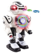 Android Battery Operated Disc Shooting Toy Robot Walking, Flashing Lights, Talking, Spinning, Disc Shooting Toy Robot