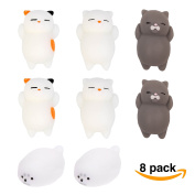 Squishy Cat 8 Pack Bundle - Slow Rising Stress Relief Toy - Mini Squeezen Kitty- Squeeze Fidget Gift + Soft Kawaii Mochi Seal