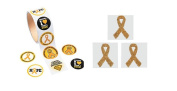 100 Gold Childhood Cancer Awareness Stickers And Gold 12 Awareness Face Tattoo's