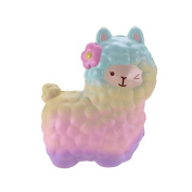 VLAMPO Squsihies Stress Toys Squishy Slow Rising Stress Toys Scented Alpaca 17cm Rainbow