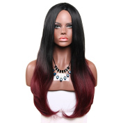 Aoert Ombre Straight Wig Black Root Long Heat Resistant Wigs For Women Middle Part Synthetic Wig 50cm