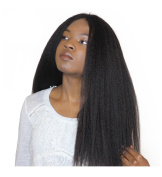 Royal-First Glueless Brazilian Virgin Human Hair Lace Front Wig 46cm Kinky Straight 100% Human Hair Yaki Straight Wigs For Women #1b Colour
