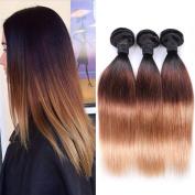 IUEENLY Ombre Brazilian Straight Virgin Hair 3 Bundles 100% Virgin Human Hair Weave Extensions 3 Tone #1B/4/27 Colour