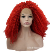 Mzcurse Women 60cm Lace Front Water Wavy Red Heat Synthetic Hair Curly Wig