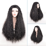 Long Curly Hair Wigs for Women Halloween Costume Cosplay Wigs Black Synthetic Hair with Wig Cap Z076