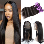 Pre Plucked 360 Lace Frontal with 8a Straight Hair Bundles Unprocessed Brazilian Virgin 130% Density 360 Frontal Free Part with 3 Bundles Human Hair Extension Natural Colour