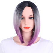 Kanuosi Purple Ombre Bob Wig Dark Roots - Black to Grey Short Wigs Heat Resistant Synthetic Natural Straight Hair Shoulder Length Full Wig No Bangs for Women