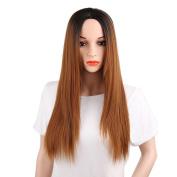 Kanuosi Lace Front Glueless Synthetic Hair for Women Brown with Black Roots Long Straight Full Wigs Heat Resistant 60cm