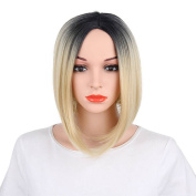 Kanuosi Blonde Ombre Bob Wig Dark Roots Short Wigs Heat Resistant Synthetic Natural Straight Hair Shoulder Length Full Wig No Bangs for Women