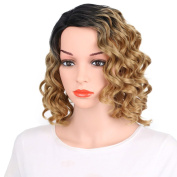Kanuosi Short Curly Hair Wig for Black Women African american Heat Resistant Synthetic Hair Wigs Light Brown