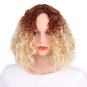 Kanuosi Short Curly Wigs for Black Women Synthetic Hair Blonde and Brown Ombre Wig
