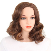Kanuosi Short Black Curly Wig Wavy Synthetic Costume Heat Resistant Wig for Black Women